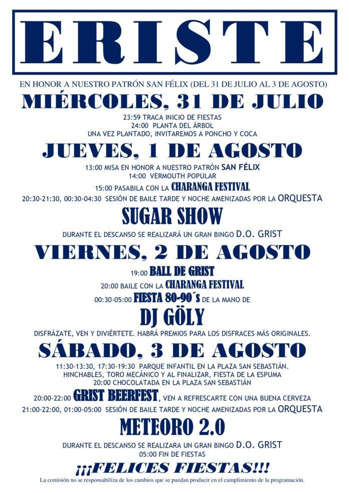 ERISTE programa fiestas 2019