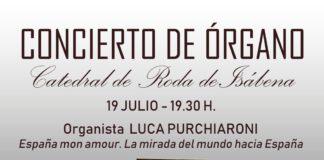 Roda de Isábena. Cartel del concierto de órgano Luca Purchiaroni