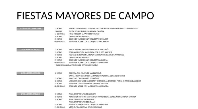 Campo. PROGRAMA FIESTAS 2019