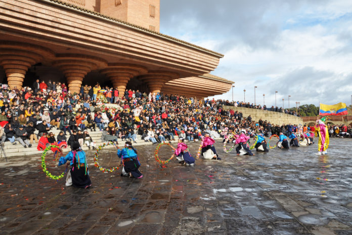 Danzas folclóricas ecuatorianas en la fiesta de la Virgen del Quinche en Torreciudad (Foto: J.A. Arregui)