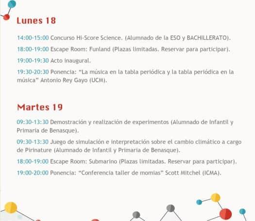 Programa de la Semana de la Ciencia en Benasque días 18 y 19