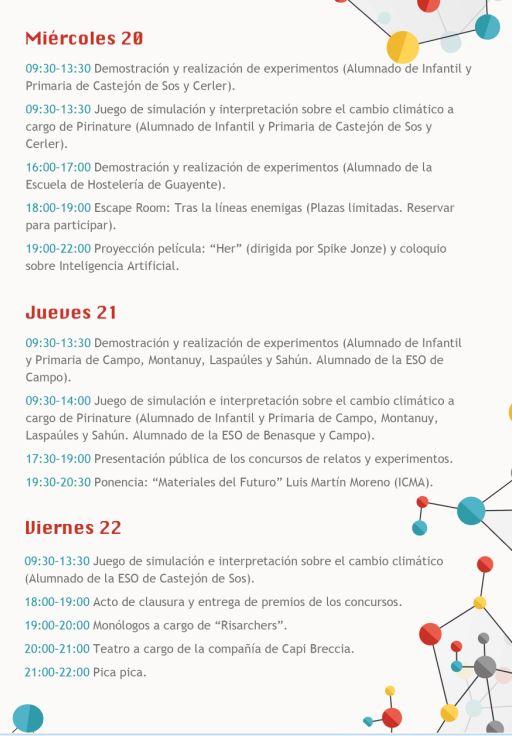 Programa de la Semana de la Ciencia días 20, 21 y 22