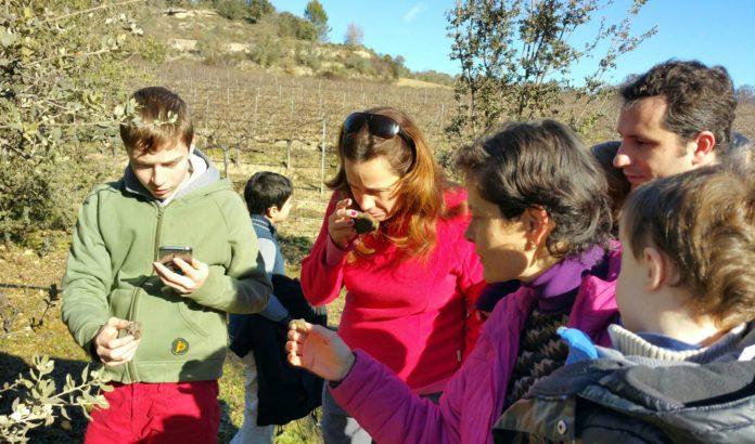 Teresa muestra a sus invitados una trufa recién cazada (Foto: Servicio especial)